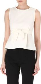 Bow Belt Top - pattern: plain; sleeve style: sleeveless; waist detail: peplum waist detail; predominant colour: ivory; occasions: evening, work; length: standard; style: top; fibres: cotton - mix; fit: tailored/fitted; neckline: crew; sleeve length: sleeveless; texture group: cotton feel fabrics; pattern type: fabric