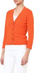 Simone Cardigan - neckline: low v-neck; pattern: plain; predominant colour: bright orange; occasions: casual, work; length: standard; style: standard; fibres: cotton - 100%; fit: slim fit; sleeve length: 3/4 length; sleeve style: standard; texture group: knits/crochet; pattern type: knitted - fine stitch