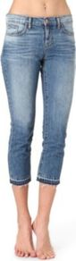 1216 Aiden Boyfriend Cropped Low Rise Jeans - style: skinny leg; pattern: plain; pocket detail: traditional 5 pocket; waist: mid/regular rise; predominant colour: denim; occasions: casual, holiday; length: calf length; fibres: cotton - 100%; jeans detail: whiskering, shading down centre of thigh, washed/faded; texture group: denim; pattern type: fabric