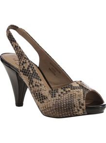 Contrast Platform Slingback Shoes - predominant colour: camel; secondary colour: charcoal; occasions: evening, work, occasion; material: faux leather; heel height: high; heel: cone; toe: open toe/peeptoe; style: slingbacks; finish: plain; pattern: animal print