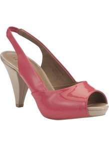 Contrast Platform Slingback Shoes - occasions: evening, holiday; material: faux leather; heel height: high; embellishment: elasticated; heel: platform; toe: open toe/peeptoe; style: slingbacks; finish: patent; pattern: plain; predominant colour: dusky pink