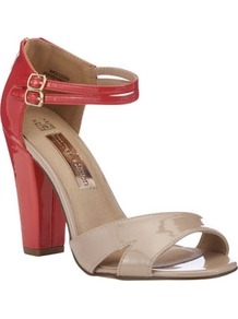 Limited Edition Colour Block Sandals - predominant colour: true red; secondary colour: tan; occasions: casual, evening, work, occasion, holiday; material: faux leather; heel height: high; embellishment: buckles; ankle detail: ankle strap; heel: block; toe: open toe/peeptoe; style: standard; finish: patent; pattern: colourblock