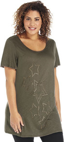 True Star Studded T Shirt - bust detail: added detail/embellishment at bust; length: below the bottom; style: t-shirt; predominant colour: khaki; occasions: casual; neckline: scoop; fibres: viscose/rayon - 100%; fit: loose; sleeve length: short sleeve; sleeve style: standard; pattern type: fabric; pattern: patterned/print; texture group: jersey - stretchy/drapey; embellishment: studs