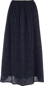 Navy Gypsy Rose Maxi Skirt - pattern: plain; length: ankle length; fit: loose/voluminous; style: pleated; waist detail: elasticated waist; waist: high rise; predominant colour: navy; occasions: casual; fibres: cotton - 100%; hip detail: soft pleats at hip/draping at hip/flared at hip; texture group: cotton feel fabrics; pattern type: fabric; embellishment: embroidered