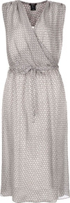 Grey Circle Print Silk Dress - style: faux wrap/wrap; length: below the knee; neckline: v-neck; pattern: plain; sleeve style: sleeveless; waist detail: elasticated waist; secondary colour: ivory; predominant colour: light grey; occasions: evening, occasion; fit: body skimming; fibres: silk - 100%; sleeve length: sleeveless; texture group: sheer fabrics/chiffon/organza etc.; pattern type: fabric; pattern size: small &amp; busy