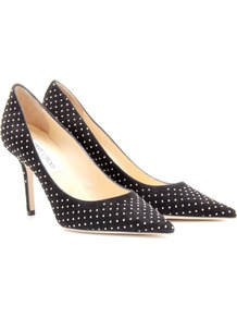 Agnes Studded Suede Pumps - secondary colour: white; predominant colour: black; occasions: evening, work, occasion, holiday; material: suede; embellishment: studs; heel: stiletto; toe: pointed toe; style: courts; finish: plain; pattern: polka dot; heel height: very high