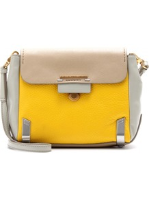 Sheltered Island Leather Shoulder Bag - predominant colour: yellow; secondary colour: stone; occasions: casual, work; type of pattern: light; style: shoulder; length: shoulder (tucks under arm); size: standard; material: leather; finish: plain; pattern: colourblock