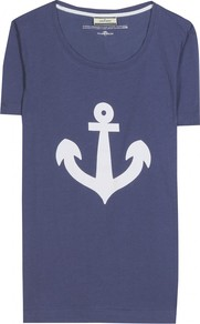 Bodissa Print T Shirt - neckline: round neck; style: t-shirt; secondary colour: white; predominant colour: navy; occasions: casual, holiday; length: standard; fibres: cotton - 100%; fit: body skimming; sleeve length: short sleeve; sleeve style: standard; pattern type: fabric; pattern size: standard; pattern: patterned/print; texture group: jersey - stretchy/drapey