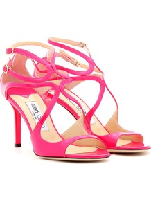 Ivette Patent Leather Neon Sandals - predominant colour: hot pink; occasions: evening, occasion, holiday; material: leather; heel height: high; embellishment: buckles; ankle detail: ankle strap; heel: stiletto; toe: open toe/peeptoe; style: strappy; trends: fluorescent; finish: fluorescent; pattern: plain