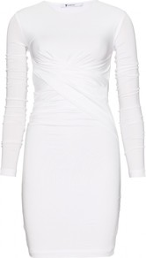 Draped Dress - length: mid thigh; fit: tight; pattern: plain; style: bodycon; waist detail: twist front waist detail/nipped in at waist on one side/soft pleats/draping/ruching/gathering waist detail; predominant colour: white; occasions: casual, evening; fibres: viscose/rayon - stretch; neckline: crew; sleeve length: long sleeve; sleeve style: standard; pattern type: fabric; texture group: jersey - stretchy/drapey