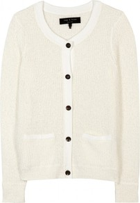 Stacy Knit Cardigan - neckline: round neck; pattern: plain; predominant colour: ivory; occasions: casual, work; length: standard; style: standard; fibres: cotton - mix; fit: standard fit; sleeve length: long sleeve; sleeve style: standard; texture group: knits/crochet; pattern type: knitted - fine stitch
