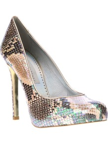 Snakeskin Print Pump - secondary colour: camel; occasions: evening, occasion; predominant colour: multicoloured; material: leather; heel: stiletto; toe: round toe; style: courts; finish: plain; pattern: animal print; heel height: very high