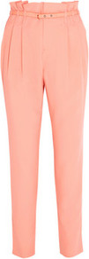 High Waisted Washed Silk Tapered Pants - pattern: plain; style: peg leg; waist: high rise; waist detail: belted waist/tie at waist/drawstring; predominant colour: coral; occasions: casual, evening, work; length: ankle length; fibres: silk - 100%; hip detail: front pleats at hip level; texture group: crepes; fit: tapered; pattern type: fabric