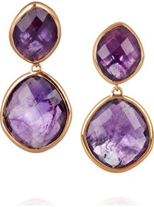 18 Karat Rose Gold Vermeil Amethyst Earrings - predominant colour: purple; secondary colour: gold; occasions: evening, work, occasion; style: drop; length: mid; size: standard; material: chain/metal; fastening: pierced; finish: plain; embellishment: jewels