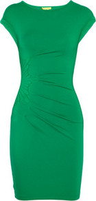 Embroidered Stretch Jersey Dress - neckline: round neck; sleeve style: capped; fit: tight; pattern: plain; style: bodycon; waist detail: twist front waist detail/nipped in at waist on one side/soft pleats/draping/ruching/gathering waist detail; predominant colour: emerald green; occasions: evening, work; length: just above the knee; fibres: viscose/rayon - stretch; sleeve length: short sleeve; pattern type: fabric; texture group: jersey - stretchy/drapey