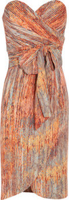 Printed Stretch Silk Dress - neckline: strapless (straight/sweetheart); sleeve style: sleeveless; style: sundress; waist detail: belted waist/tie at waist/drawstring; secondary colour: pale blue; predominant colour: terracotta; occasions: evening, occasion; length: just above the knee; fit: body skimming; sleeve length: sleeveless; texture group: silky - light; pattern type: fabric; pattern size: standard; pattern: patterned/print; fibres: silk - stretch