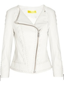 Embellished Leather Biker Jacket - pattern: plain; style: biker; bust detail: added detail/embellishment at bust; collar: asymmetric biker; shoulder detail: contrast pattern/fabric at shoulder; predominant colour: white; occasions: casual, evening, work, occasion; length: standard; fit: tailored/fitted; fibres: leather - 100%; waist detail: fitted waist; sleeve length: long sleeve; sleeve style: standard; texture group: leather; collar break: medium; pattern type: fabric; embellishment: applique