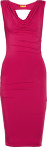 Draped Jersey Dress - neckline: cowl/draped neck; fit: tight; pattern: plain; sleeve style: sleeveless; style: bodycon; back detail: cowl/draping/scoop at back; bust detail: ruching/gathering/draping/layers/pintuck pleats at bust; predominant colour: hot pink; occasions: evening, occasion; length: just above the knee; fibres: viscose/rayon - stretch; sleeve length: sleeveless; pattern type: fabric; texture group: jersey - stretchy/drapey