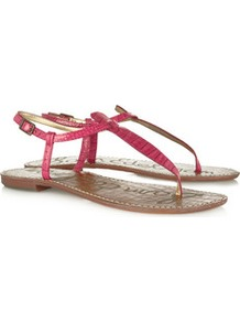 Gigi Snake Effect Patent Leather Sandals - predominant colour: hot pink; secondary colour: tan; occasions: casual, holiday; material: leather; heel height: flat; ankle detail: ankle strap; heel: standard; toe: toe thongs; style: flip flops / toe post; finish: patent; pattern: animal print