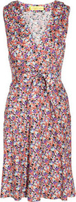 Printed Stretch Silk Dress - style: faux wrap/wrap; neckline: low v-neck; fit: fitted at waist; sleeve style: sleeveless; waist detail: wide waistband/cummerbund; predominant colour: pink; secondary colour: lilac; occasions: casual, evening; length: just above the knee; sleeve length: sleeveless; pattern type: fabric; pattern size: small &amp; busy; pattern: patterned/print; texture group: jersey - stretchy/drapey; fibres: silk - stretch