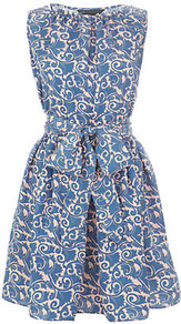 Tootsie Dress - fit: fitted at waist; sleeve style: sleeveless; style: full skirt; pattern: paisley; waist detail: belted waist/tie at waist/drawstring; bust detail: ruching/gathering/draping/layers/pintuck pleats at bust; secondary colour: ivory; predominant colour: denim; occasions: casual, evening; length: just above the knee; fibres: silk - 100%; neckline: crew; hip detail: soft pleats at hip/draping at hip/flared at hip; sleeve length: sleeveless; texture group: silky - light; trends: volume; pattern type: fabric; pattern size: standard