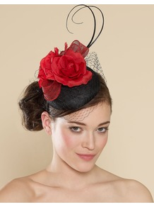 Ascot Rose And Bow Veiled Cocktail Piece - predominant colour: true red; secondary colour: black; occasions: evening, occasion; type of pattern: light; style: fascinator; size: standard; material: macrame/raffia/straw; pattern: plain; embellishment: corsage