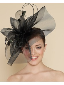 Ascot Statement Crinoline On Band - predominant colour: black; occasions: occasion; style: fascinator; size: large; material: sinamay; pattern: plain; embellishment: corsage