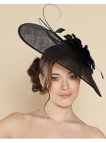 Ascot Audrey Disc With Flower - predominant colour: black; occasions: occasion; style: fascinator; size: large; material: sinamay; pattern: plain; embellishment: corsage