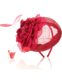 Ascot Scarlet Flower Pill Box - predominant colour: true red; occasions: occasion; style: fascinator; size: small; material: sinamay; pattern: plain; embellishment: corsage