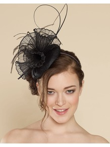 Ascot Concertina Crinoline Pill Box - predominant colour: black; occasions: evening, occasion; type of pattern: standard; style: fascinator; size: tiny/mini; material: macrame/raffia/straw; embellishment: fur; pattern: plain