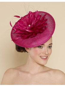 Ascot Statement Feather Flower Disc - predominant colour: hot pink; occasions: evening, occasion; type of pattern: standard; style: fascinator; size: large; material: macrame/raffia/straw; pattern: plain; embellishment: corsage