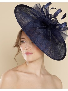 Ascot Tammara Disc With Crinoline Bow - predominant colour: navy; secondary colour: navy; occasions: evening, occasion; type of pattern: standard; style: fascinator; size: large; material: macrame/raffia/straw; embellishment: feather; pattern: plain
