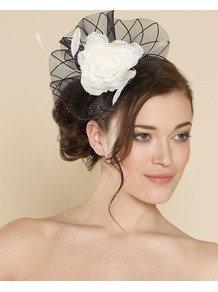 Ascot Patterned Crinoline With Flower - secondary colour: white; predominant colour: black; occasions: evening, occasion; type of pattern: large; style: fascinator; size: large; material: sinamay; pattern: colourblock; embellishment: corsage