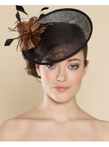 Ascot Leopard Flower Disc - secondary colour: chocolate brown; predominant colour: black; occasions: evening, occasion; type of pattern: small; style: fascinator; size: large; material: macrame/raffia/straw; pattern: plain; embellishment: corsage