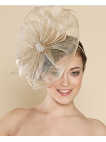 Ascot Fluted Disc With Bow - predominant colour: stone; occasions: evening, occasion; type of pattern: standard; style: fascinator; size: large; material: sinamay; pattern: plain; embellishment: corsage