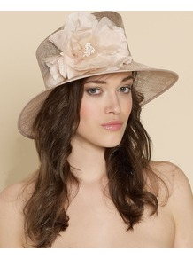 Small Brim Hat With Corsage Trim - predominant colour: champagne; occasions: occasion; style: brimmed; size: standard; material: macrame/raffia/straw; pattern: plain; embellishment: corsage