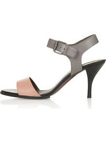 Nigella Two Part Mid Sandals - secondary colour: blush; predominant colour: silver; occasions: casual, evening, work, occasion, holiday; material: leather; heel height: mid; ankle detail: ankle strap; heel: stiletto; toe: open toe/peeptoe; style: standard; trends: metallics; finish: metallic; pattern: colourblock