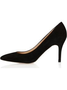 Gene Midi Pointed Courts - predominant colour: black; occasions: casual, evening, work, occasion; material: suede; heel height: mid; heel: standard; toe: pointed toe; style: courts; finish: plain; pattern: plain