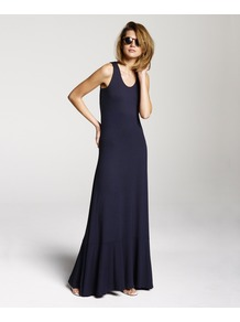 Racer Back Maxi - sleeve style: standard vest straps/shoulder straps; pattern: plain; style: maxi dress; fit: bias; back detail: racer back/sports back; predominant colour: navy; occasions: casual, holiday; length: floor length; neckline: scoop; fibres: viscose/rayon - stretch; hip detail: soft pleats at hip/draping at hip/flared at hip; sleeve length: sleeveless; pattern type: fabric; texture group: jersey - stretchy/drapey