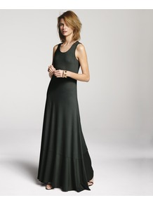 Racer Back Maxi - sleeve style: standard vest straps/shoulder straps; pattern: plain; style: maxi dress; back detail: racer back/sports back; predominant colour: khaki; occasions: casual, holiday; length: floor length; fit: body skimming; neckline: scoop; fibres: viscose/rayon - stretch; sleeve length: sleeveless; pattern type: fabric; texture group: jersey - stretchy/drapey