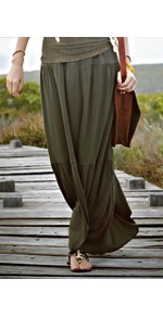 Jersey Tiered Maxi Skirt - pattern: plain; fit: loose/voluminous; waist detail: belted waist/tie at waist/drawstring; waist: mid/regular rise; predominant colour: dark green; occasions: casual, holiday; length: floor length; style: maxi skirt; fibres: viscose/rayon - 100%; hip detail: soft pleats at hip/draping at hip/flared at hip; texture group: cotton feel fabrics; pattern type: fabric