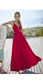 Satin Pleated Maxi Dress - neckline: low v-neck; fit: empire; pattern: plain; sleeve style: sleeveless; style: maxi dress; predominant colour: true red; occasions: casual, evening, occasion, holiday; length: floor length; fibres: polyester/polyamide - 100%; hip detail: structured pleats at hip; sleeve length: sleeveless; pattern type: fabric; texture group: other - light to midweight