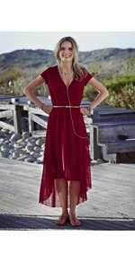 Hi Lo Mesh Dress - neckline: low v-neck; fit: fitted at waist; pattern: plain; waist detail: belted waist/tie at waist/drawstring; bust detail: ruching/gathering/draping/layers/pintuck pleats at bust; predominant colour: burgundy; occasions: evening, work, occasion, holiday; length: on the knee; style: asymmetric (hem); fibres: polyester/polyamide - 100%; hip detail: soft pleats at hip/draping at hip/flared at hip; shoulder detail: flat/draping pleats/ruching/gathering at shoulder; back detail: longer hem at back than at front; sleeve length: short sleeve; sleeve style: standard; texture group: sheer fabrics/chiffon/organza etc.; pattern type: fabric