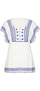 Embroidered Kaftan - sleeve style: angel/waterfall; pattern: plain; waist detail: elasticated waist; length: below the bottom; style: tunic; hip detail: fitted at hip; bust detail: buttons at bust (in middle at breastbone)/zip detail at bust; predominant colour: white; secondary colour: navy; occasions: casual, holiday; neckline: scoop; fibres: viscose/rayon - 100%; fit: empire; sleeve length: short sleeve; texture group: cotton feel fabrics; pattern type: fabric; pattern size: small & light; embellishment: embroidered