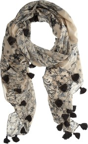 Anisa Scarf, Multi - predominant colour: stone; secondary colour: black; occasions: casual, evening, holiday; type of pattern: standard; style: regular; size: standard; material: fabric; embellishment: tassels; pattern: florals