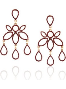 Gold Plated Crystal Earrings - predominant colour: burgundy; secondary colour: gold; occasions: evening, occasion, holiday; style: chandelier; length: long; size: large/oversized; material: chain/metal; fastening: pierced; finish: plain; embellishment: jewels