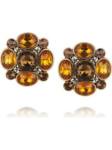 Gold Plated Crystal Clip Earrings - secondary colour: chocolate brown; predominant colour: gold; occasions: evening, work, occasion, holiday; style: stud; length: short; size: standard; material: chain/metal; fastening: pierced; embellishment: jewels