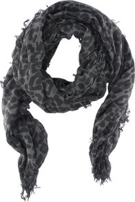 Scarf - secondary colour: charcoal; predominant colour: mid grey; occasions: casual, evening, work, holiday; type of pattern: heavy; style: regular; size: standard; material: fabric; embellishment: fringing; pattern: animal print; trends: statement prints