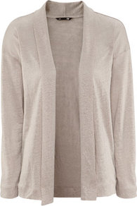 Linen Cardigan - pattern: plain; neckline: shawl; length: below the bottom; bust detail: ruching/gathering/draping/layers/pintuck pleats at bust; style: open front; predominant colour: stone; occasions: casual, evening, work, holiday; fibres: linen - 100%; fit: loose; sleeve length: long sleeve; sleeve style: standard; texture group: knits/crochet; pattern type: knitted - fine stitch