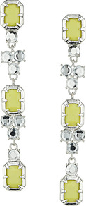 Yellow Jewel Earrings - predominant colour: primrose yellow; secondary colour: silver; occasions: evening, occasion; style: drop; length: long; size: large/oversized; material: chain/metal; fastening: pierced; finish: metallic; embellishment: jewels